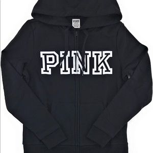 PINK Victoria's Secret black zip up jacket small